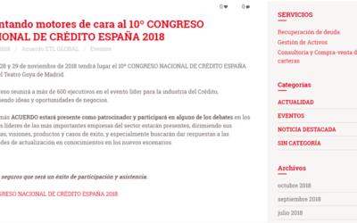 'Calentando motores de cara al 10º CONGRESO NACIONAL DE CRÉDITO ESPAÑA 2018'