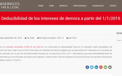 'Deducibilidad de los intereses de demora a partir del 1/1/2015'