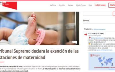 'El Tribunal Supremo declara la exención de las prestaciones de maternidad'En el blog de Ejaso-ETL Global