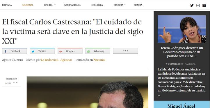 El fiscal Carlos Castresana: El cuidado de la víctima será clave en la Justicia del siglo XXI