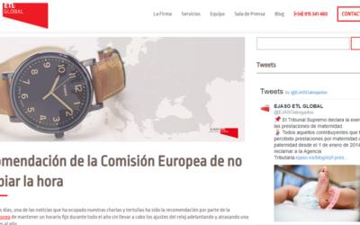 'Recomendación de la Comisión Europea de no cambiar la hora'