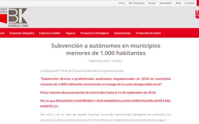 'Subvención a autónomos en municipios menores de 1.000 habitantes'