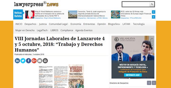 VIII Jornadas Laborales de Lanzarote 4 y 5 octubre, 2018: Trabajo y Derechos Humanos