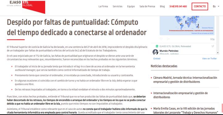 'Despido por faltas de puntualidad: Cómputo del tiempo dedicado a conectarse al ordenador'