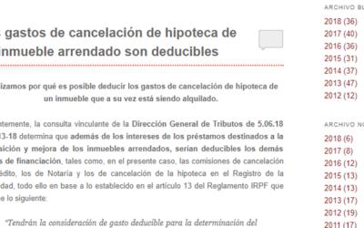 'Gastos de cancelación de hipoteca de inmueble arrendado'