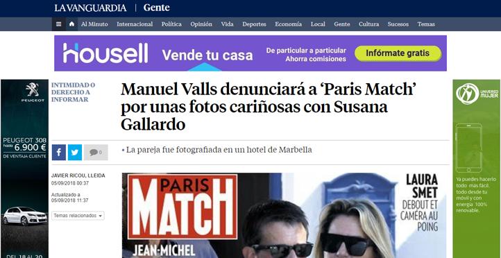 Manuel Valls denunciará a 'Paris Match' por unas fotos cariñosas con Susana Gallardo