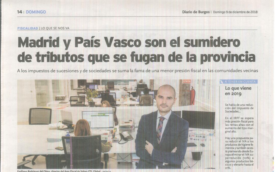 Madrid y el País Vasco son el sumidero de tributos que se fugan de la provincia