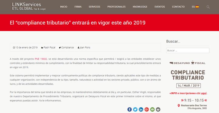 """El """"compliance tributario"""" entrará en vigor este año 2019"""