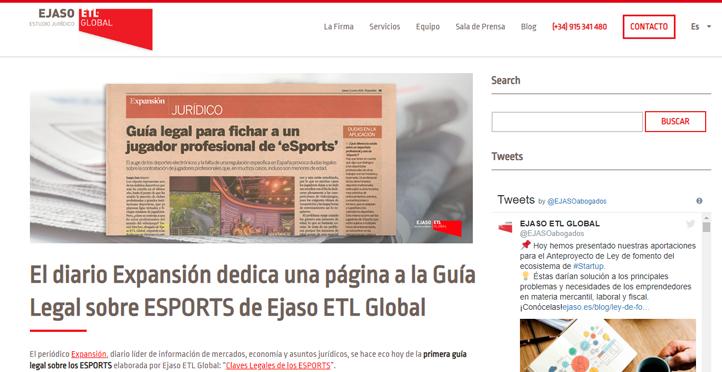 'El diario Expansión dedica una página a la Guía Legal sobre ESPORTS de Ejaso ETL GLOBAL'