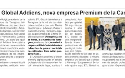 ETL Global ADD nueva empresa premium de la Cambra de Tarragona