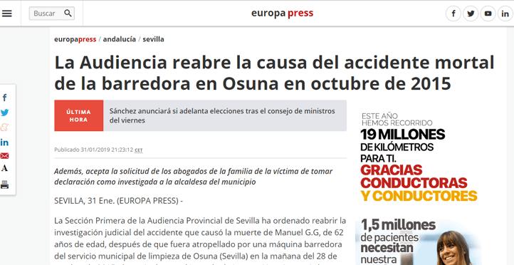 La Audiencia reabre la causa del accidente mortal de la barredora en Osuna en octubre de 2015
