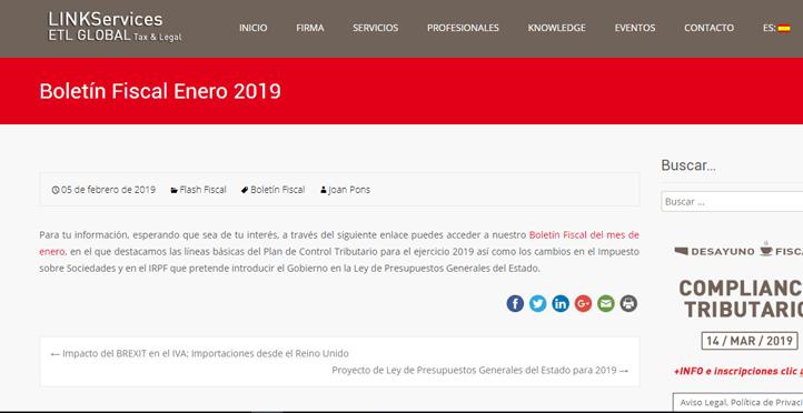 Boletín Fiscal Enero 2019