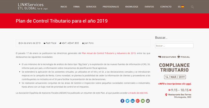 'Plan de Control Tributario para el año 2019' En el blog de LinkServices – ETL Global