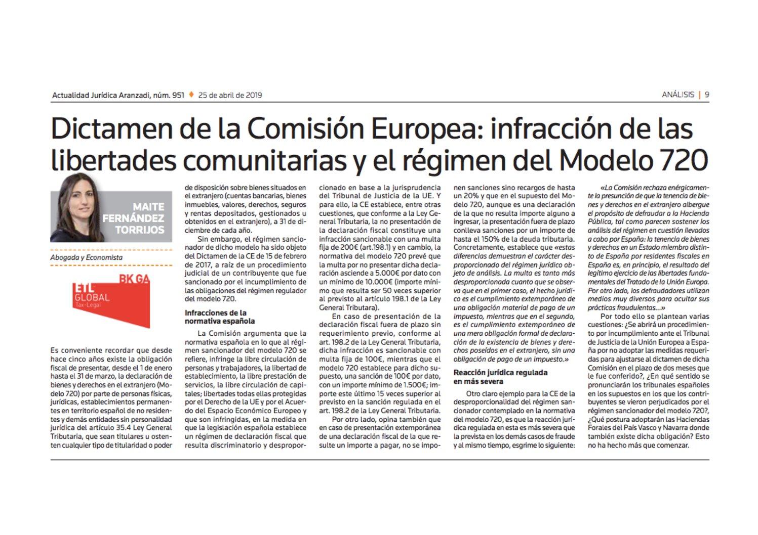 Dictamen de la Comisión Europea: infracción de las libertades comunitarias y el régimen del modelo 720