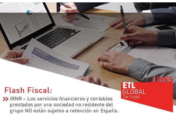Los servicios financieros y contables prestados por una sociedad no residente del grupo NO están sujetos a retención en España