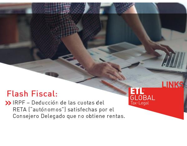 """IRPF – Deducción de las cuotas del RETA (""""autónomos"""") satisfechas por el Consejero Delegado que no obtiene rentas"""