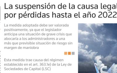 La suspensión de la causa legal por pérdidas hasta el año 2022