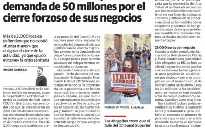 Hosteleros vascos impulsan una demanda de 50 millones por el cierre forzoso de sus negocios
