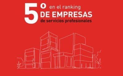 ETL Global logra situarse en la 5ª posición en los rankings de empresas de servicios profesionales en España.